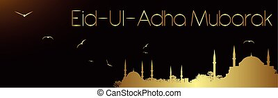 eid-ul-adha mubarak - mosques and sacrifice holiday greeting...