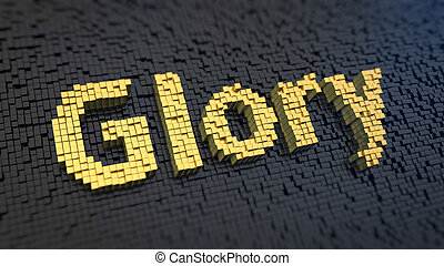Glory cubics - Word Glory of the yellow square pixels on a...