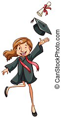 A simple drawing of a happy girl graduating - Illustration...