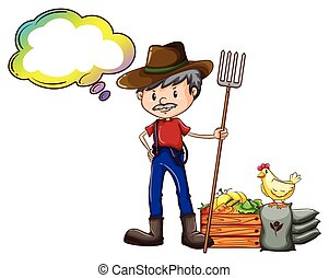 A farmer holding a rake with an empty callout - Illustration...