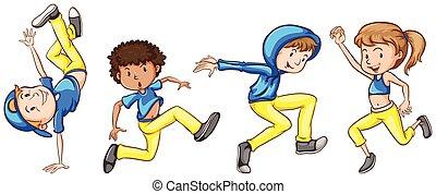 simples, Esboço, Dançarinos, Grupo