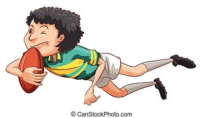 A simple drawing of a boy playing rugby - Illustration of a...
