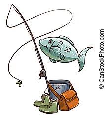 Fishing equipments - Illustration of the fishing equipments...