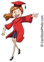 A girl graduating - Illustration of a girl graduating on a...