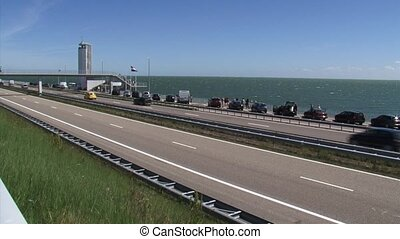 Afsluitdijk (enclosure dam) in The Netherlands,  IJsselmeer background