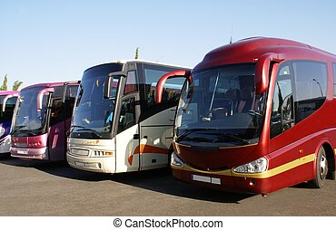 buses. coaches - buses parked in a car park