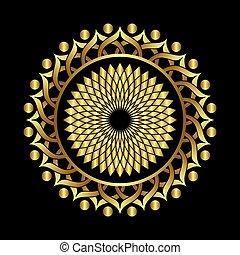 ottoman round frame gold design - round ottoman gold pattern...