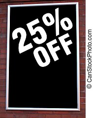 sale sign 25 off price reduction - store sign