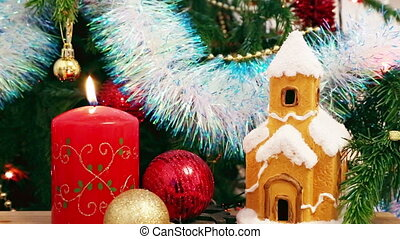 Christmas decoration - candle, house, snowflakes and balls