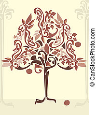 Abstract apple tree 1 - Abstract apple tree in pink red and...