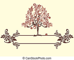 Abstract apple tree 4 - Abstract apple tree in pink red and...