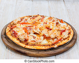 Delicious shrimp pizza on wood - Delicious Shrimp pizza on...