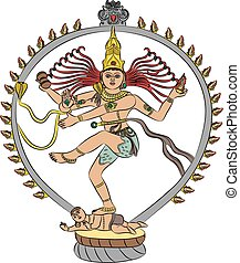 vector goddess Kali - Indian goddess Kali dancing isolated...