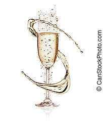 Celebration theme - Glass of champagne with splash, isolated...
