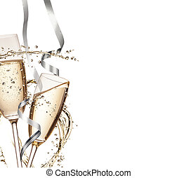 Celebration theme - Two glasses of champagne with splash,...
