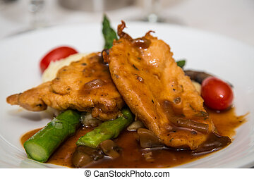 Chicken Marsala Over Asparagus - Dinner of chicken marsala...