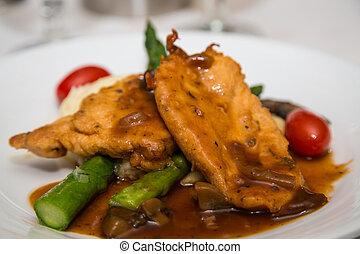Chicken Marsala Over Asparagus - Dinner of chicken marsala...