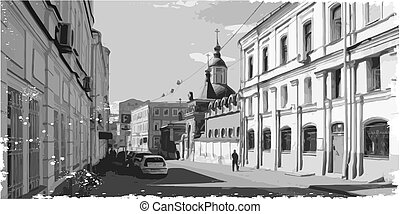 black and white illustration of city scape