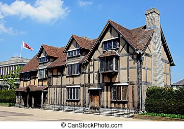 Shakespeares birthplace, Stratford. - Front view of...