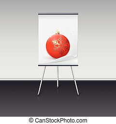 Flipchart with a Christmas ball on it, image is over a white...