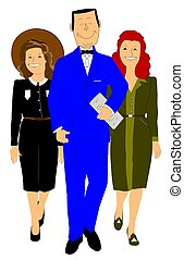 man in blue suit with 2 women