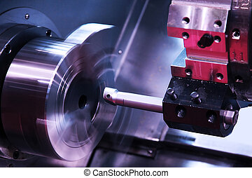 Lathe - milling detail on metal cutting machine tool at...