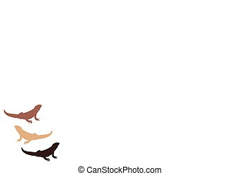 Bearded dragons - Colored bearded dragon silhouettes, set of...