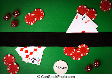 poker background with playing cards, chips and dices