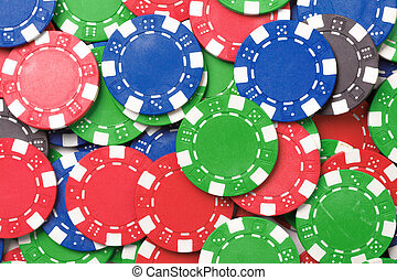 Chaos abstract color photo closeup - Gaming chips. Chaos...