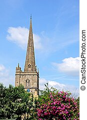 Church spire, Burford - St John the Baptist church spire,...