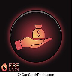 hand holding a bag of money.