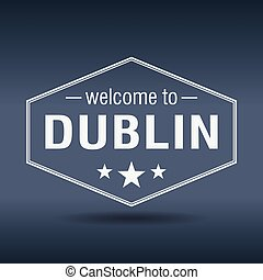 welcome to Dublin hexagonal white vintage label