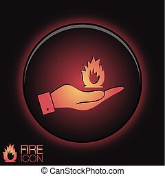 hand holding a fire sign.