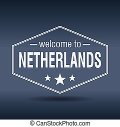 welcome to Netherlands hexagonal white vintage label