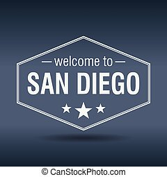 welcome to San Diego hexagonal white vintage label