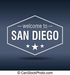 Diego,  San, ouderwetse, welkom, Etiket, Zeshoekig, witte