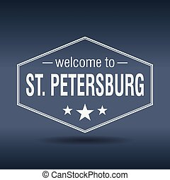 welcome to St Petersburg hexagonal white vintage label