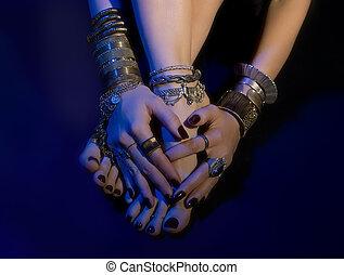 bello, gioielleria, piedi,  jewelry:, femmina, mani, orientale
