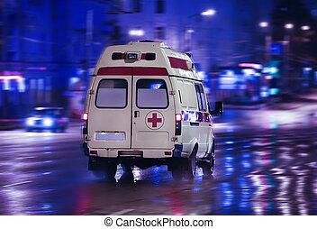 都市, 救急車, 行く, 夜