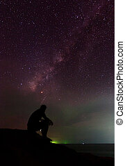 Man and the milky way at Sabah, East Malaysia, Borneo...