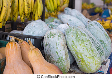 Vegetables for sell - Pumpkins in malaysian borneo market...