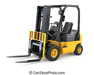 Forklift truck on white isolated background 3d
