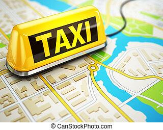 táxi, car, sinal, ligado, a, cidade, map.,