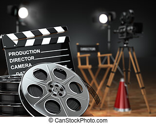 Video, movie, cinema concept Retro camera, reels,...