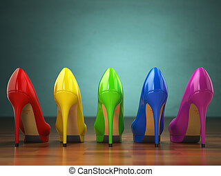 Choice of high heels shoes in different colors. Shopping...