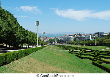 Landscape of Eduardo VII Park in Lisbon - beautiful garden...