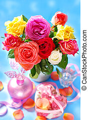 bouquet of colorful roses - beautiful bouquet of colorful...
