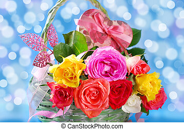 colorful roses in wicker basket - romantic bouquet of...