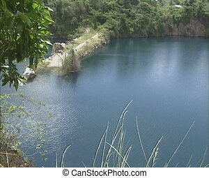abandoned granite quarry on the isle of Pulau ubin Singapore...