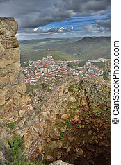 Town of Feria from one ruined battlement of the castle - The...
